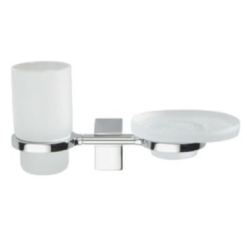 Sonia Eletech Frosted Glass Soap Dish & Tumbler Holder Chrome 114139